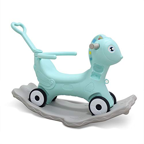 Cacyy Rocker Toy for Kid,Blue Pink Ride Unicorn Rocking Horse 2 in 1 Rocker Toy with Wheels for Kid 6-36 Months,Infant Gift/Nursery/Outdoor/Indoor,Green