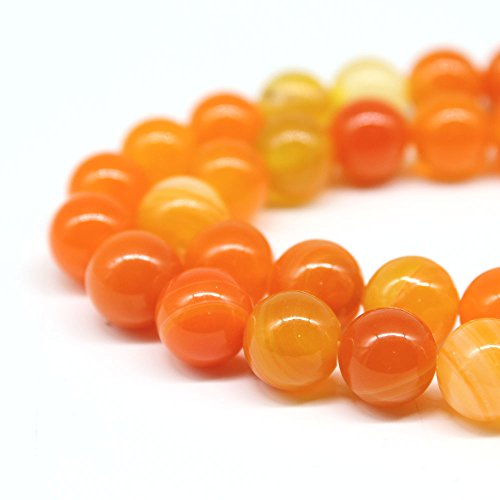 Orange Jade Necklace (JARTC Natural Stone Beads Orange Stripe Agate Round Loose Beads For Jewelry Making Diy Bracelet Necklace (6mm))