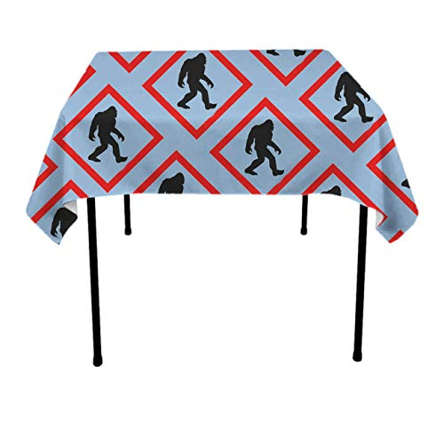 JACINTAN Tablecloth Square Polyester Table Cover - Wedding Restaurant Party Banquet Decoration, Bigfoot Crossing Signs, 52x52 inch -