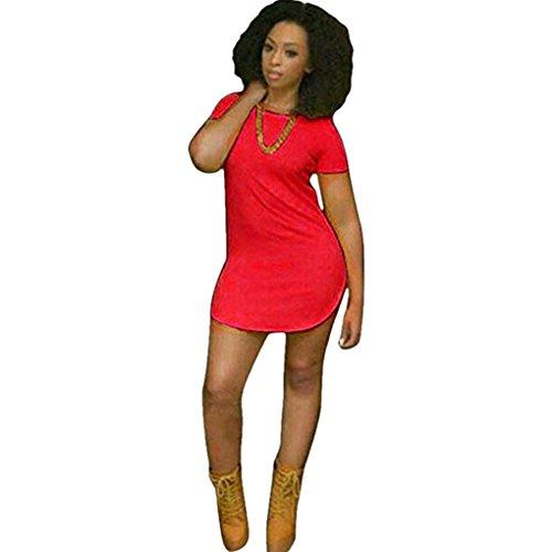 Women Dress,Haoricu Fall Sexy Women Tops Short Sleeve Side Slit Casual T Shirt Party Mini Dress (M, Red)