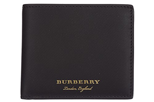 Burberry men's genuine leather wallet credit card bifold trench black