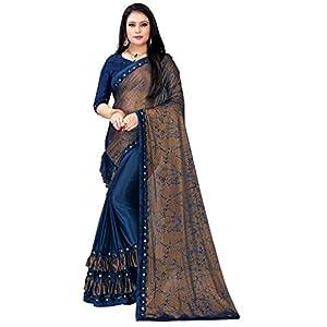 Women's Designer Silk Saree with Blouse Piece (Navy Blue)