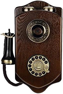 CCJW Teléfono Fijo Antiguo Tarjeta de Red inalámbrica de Madera montada en la Pared Retro Hotel Creativo inalámbrico con Cable teléfono Fijo (Color : A): Amazon.es: Hogar