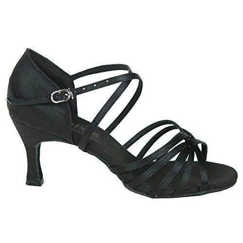 Danzcue Femmes Sangles Satin Chaussures De Danse De Salon Noir