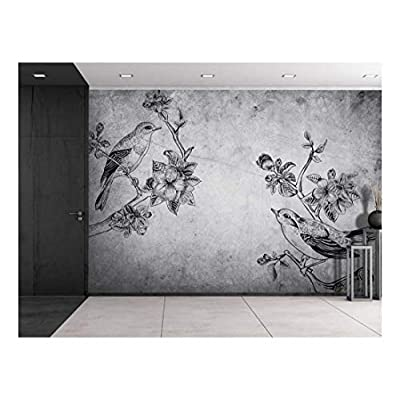 Birds and Branches Sitting on a Grayscale Grungy Texture with a Vignette Effect Around It - Wall Mural, Removable Vinyl Wallpaper, Home Decor - 100x144 inches