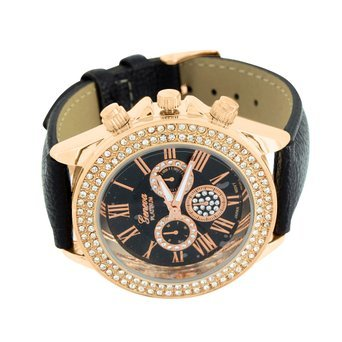 Rose Gold Womens Watch Simulated Diamond Roman Numeral Dial Black Leather - Master Ban
