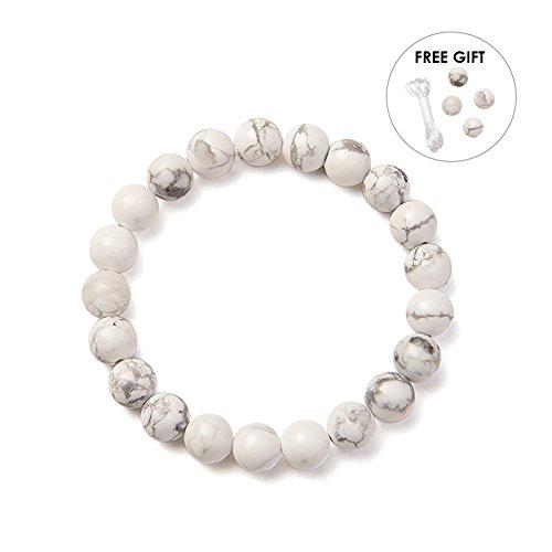 SUNNYCLUE Natural Genuine White Gray Howlite Gemstones Bracelet Stretch 8mm Round Beads about 7