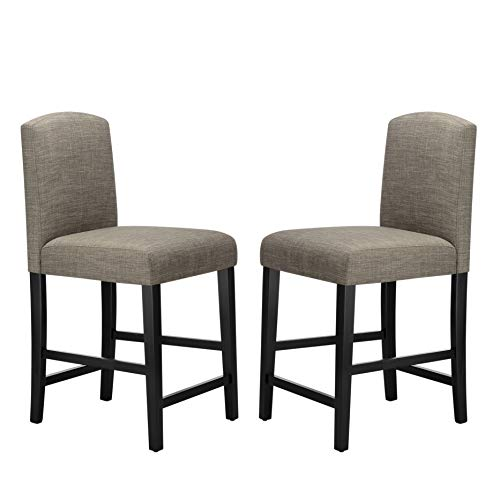 Ravenna Home Modern Counter Stool with Back, 38 Inch Height, Grey, Set of 2 (Grey Stools Counter Fabric)