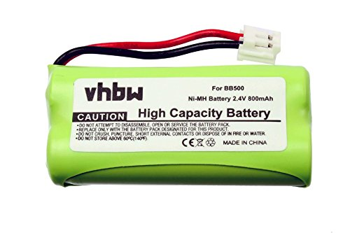 vhbw NiMH Akku 800mAh (2.4V) für schnurlos Festnetz Telefon Binatone Big Button Combo 2 II, E3800 wie BC102906, 60AAAH2BMJ, 87C, BT-34H, T377.