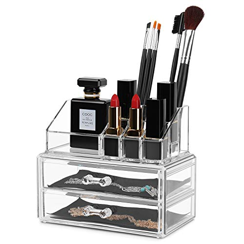 Flexzion Cosmetic Makeup Organizer - Jewelry Storage Container Box Drawer Acrylic Display Case 2 Piece Set, 11 Sections with 2 Drawers, Holder for Lipsticks Liners Brushes Beauty Tools Accessories