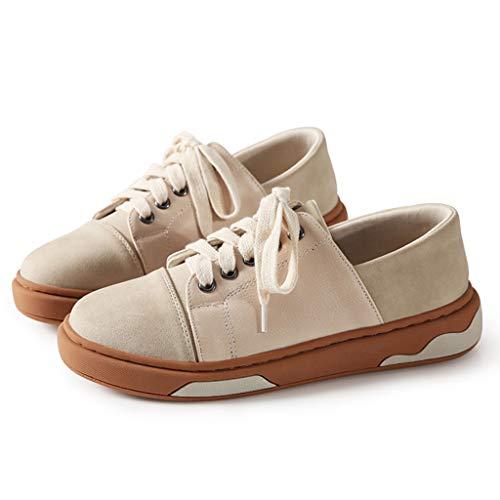 Zapatillas Nueva Dulce de con SHI de Cuero Cordones la Casuales de Zapatos PU Moda Zapatos Respirables Beige Planos Mujeres Las WqAYvZSA