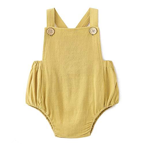 Simplee Kids Baby Romper 0-3 Months Girls Baby Onesies Yellow Unisex Solid Colors ()