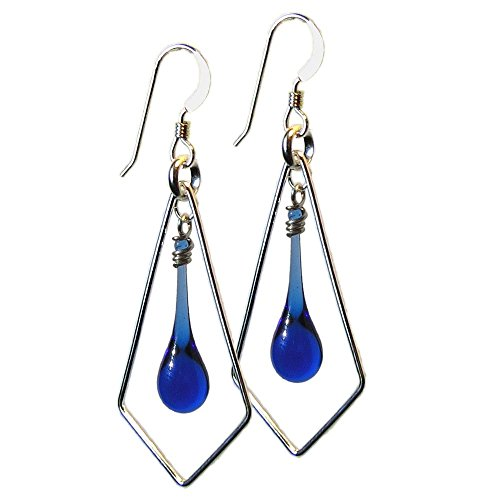 Dark Blue Glass Drop Earrings with Sterling Silver Kite, recycled from vodka bottles