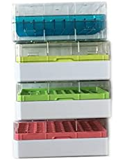 Polycarbonate CryoBox Vial Rack,9 x 9 Array, 81 Place (Blue/Green/Red/Yellow(Pack of 4))