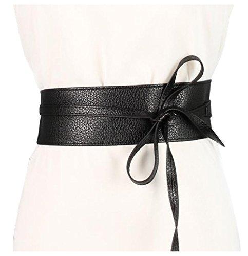 Lovful Women's Soft PU Faux Leather Self Tie Wrap Around Obi Waist Cinch Boho ()