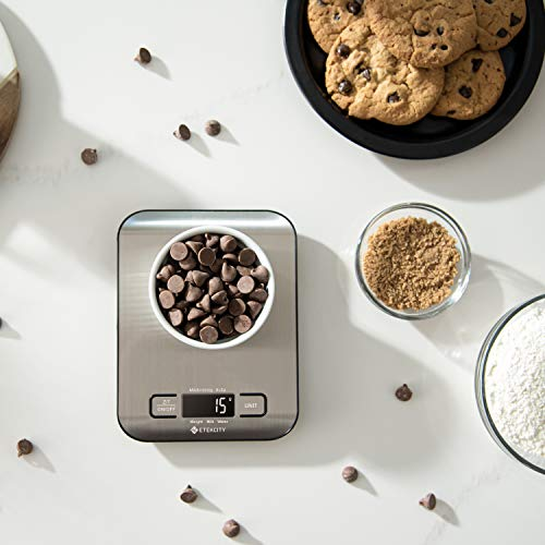 Etekcity Food Kitchen Scale, Gifts for Cooking, Baking, Meal Prep, Keto Diet and Weight Loss, Measuring in Grams and Ounces, Small, 304 Stainless Steel