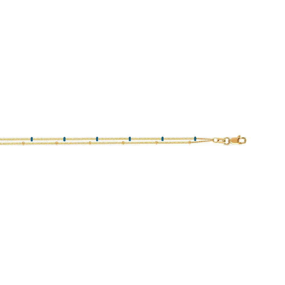 14kt Y.G.Double Strand Blue Enamel /& Pln Saturn Anklet