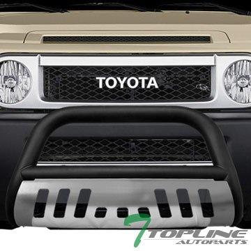Topline Autopart Matte Black HD Heavyduty Bull Bar Brush Push Front Bumper Grill Grille Guard w/ Chrome Skin Plate 07-14 Toyota FJ - Bully Brush Guard
