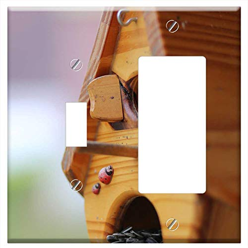 1-Toggle 1-Rocker/GFCI Combination Wall Plate Cover - Nest Feed The Birds Melon Seeds Bird Food
