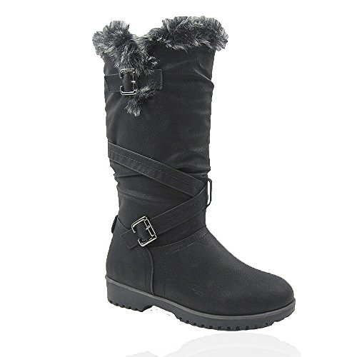Comfy Moda Women's Winter Ice Snow Boots Cold Weather Faux Fur Full Lined Manmade Leather Waterloo (11, Black) by Comfy Moda
