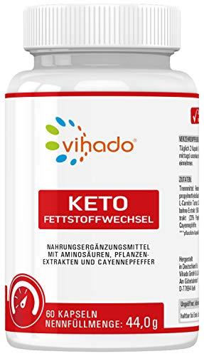 Vihado Keto Fettstoffwechsel Kapseln mit L-Carnitin, Grüner Kaffee Extrakt, Grüner Tee Extrakt, Ingwer Extrakt, 60 Kapseln