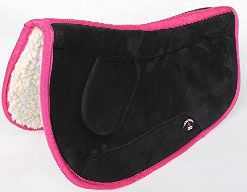 CHALLENGER Equine Western Barrel Horse Saddle PAD 28X32 Double Back Fleece Black Pink 3991