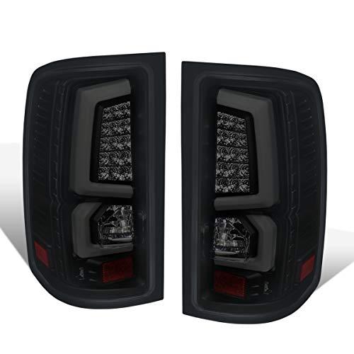 Fit 2008-2013 GMC Sierra 1500/2007-2014 GMC Sierra 2500HD 3500HD Tube White Streak Led Tail Lights Black Housing/Smoked Lens