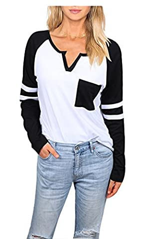Uideazone Women's Cotton Loose T Shirts Striped Long Sleeve Baseball Raglan Blouse Tops - Long Sleeve Raglan Baseball