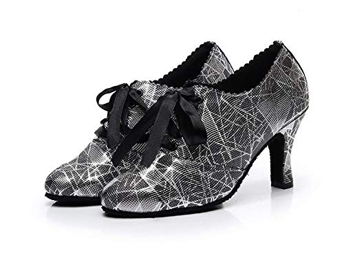 UK UK UK Nero Ladies Toe Floral Pompe Ballroom Latin Dance serali serali serali serali ZHRUI Colore Ribbon per Shoes Dimensione Party Closed 5 x4pqwgX6R