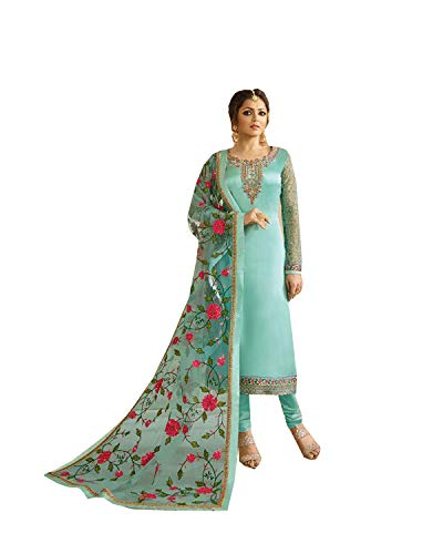- Delisa Indian Wear Straight Salwar Kameez Party Wear Timeless (Sky Blue, SMALL-38)