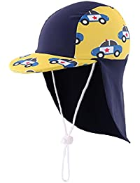 Home Prefer Boys Sun Hat Long Flap Quick Dry Sun Protection Cap with Visor Surf Up Swim Hat Car