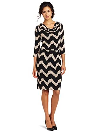 Evolution by Cyrus Women's Elbow Sleeve Cowl Neck Dress, Brushed Wave Print, Medium