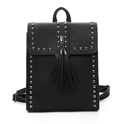 Grey Ladies Bag Rucksack Leather Purse Women PU Retro Rivets Tassel Shoulder Bag Backpack Fqwx7TUW6f