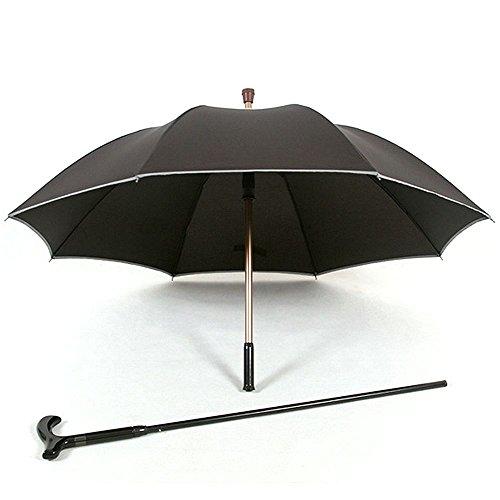 HTYX Multi Function Walking Stick Outdoor Umbrella Cane Old Man Umbrella Black Aluminum Alloy Umbrella Diameter 102CM Cane 86cm