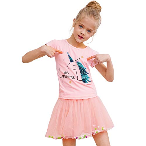 Play Tailor Toddler Girls Tutu Skirt with Sequin Unicorn Tee for Summer Casual 2T-6Y