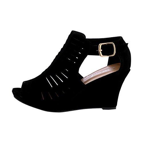 Top Moda Nelly-1 Women's Gladiator Open Toe (Black Women Wedge Sandals)