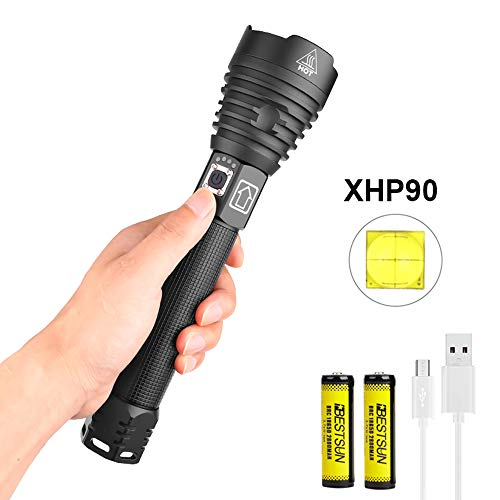 Powerful Flashlights Rechargeable XHP90 LED Super Bright Flashlight, LUXNOVAQ Zoomable 10000 High Lumen Tactical Flashlight Waterproof USB Outdoor Torch Light with 2 Batteries & 3 Modes for Camping