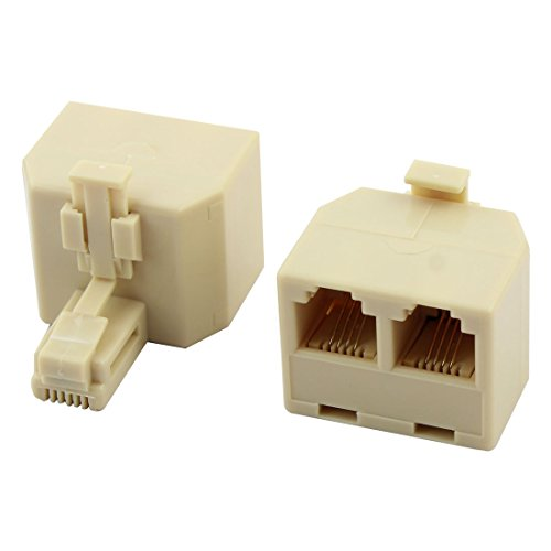 uxcell Plastic Telephone RJ11 1 Male to 2 Female Adapter Connector Splitter 2 (Modular Duplex Phone Jack)