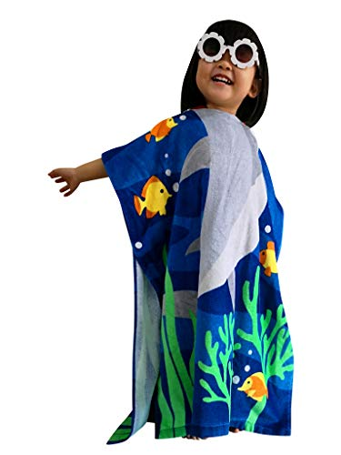 Athaelay Kids Beach Towel Hooded Poncho Cover-up Use for Boys/Girls Pool Swim Bath Beach 100% Cotton Extra Large Size Fit 2-7 Years Old, Shark - Girls Hooded Poncho