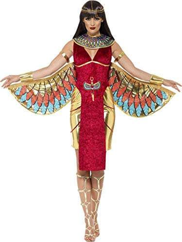 4 PC Egyptian Goddess Cleopatra Red Dress & Wings w/Accessories Party Costume ()
