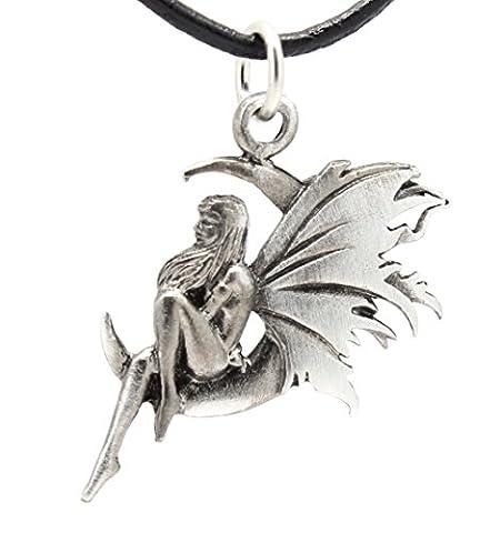 Pewter Fairy Celestial Crescent Moon Pendant on Leather Necklace (Magical Crescent Moon Necklace)