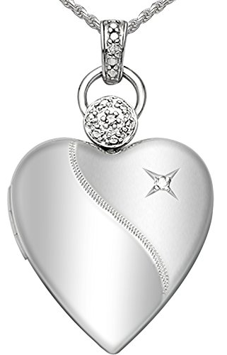 Childs Diamond Heart Locket (Ladies 0.8in 0.925 Sterling Silver 2 Photo Heart Locket with Diamond Accent Pendant 2.3mm Figaro Necklace, 20