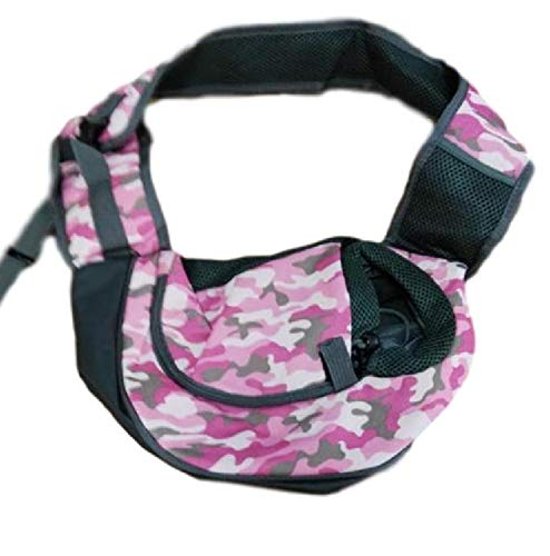 Glasshe Small Dog Cat Pet Sling Carrier Bag Safe Comfortable Hands-Free Single Shoulder Travel Carry Tote Handbag for Pets Below 6lb (Small, Camouflage Pink)
