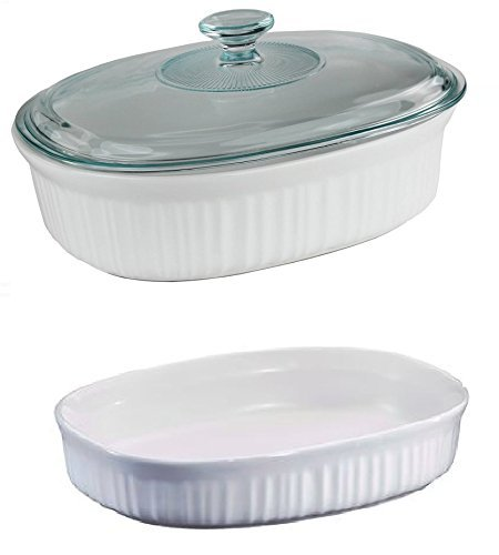 Fluted Oval Casserole - French White Oval Casserole Three Piece Bundle: 1.5 Quart, 2.5 Quart and Glass Lid