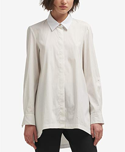 DKNY Striped High-Low Button-Front Shirt White XS