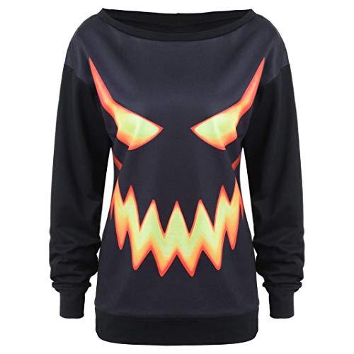 iYBUIA New Women Hooded Halloween Pumpkin Face Printed Drawstring Hoodie Sweatshirt Tops(Black,L)