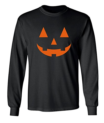 Halloween Costume Carved out Pumpkin Graphic Design Long Sleeved Crew Neck T-Shirt - 4X-Large (Offensive Halloween Costumes All Ages)