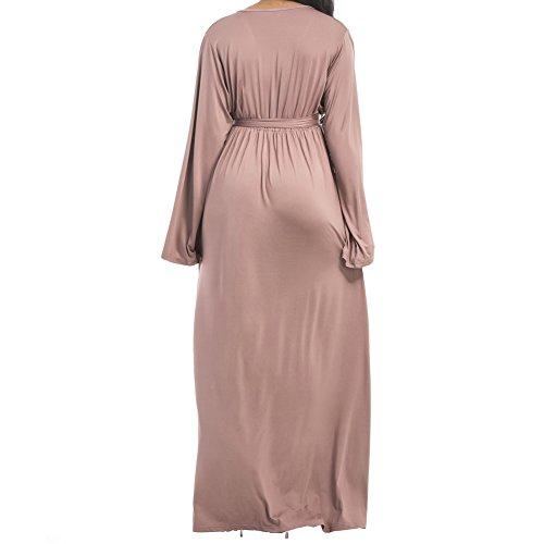 Bodycon4u La Taille Du Cou V Femmes Manches Longues Ceinturée Froncé Partie Beige Robe Maxi Longue