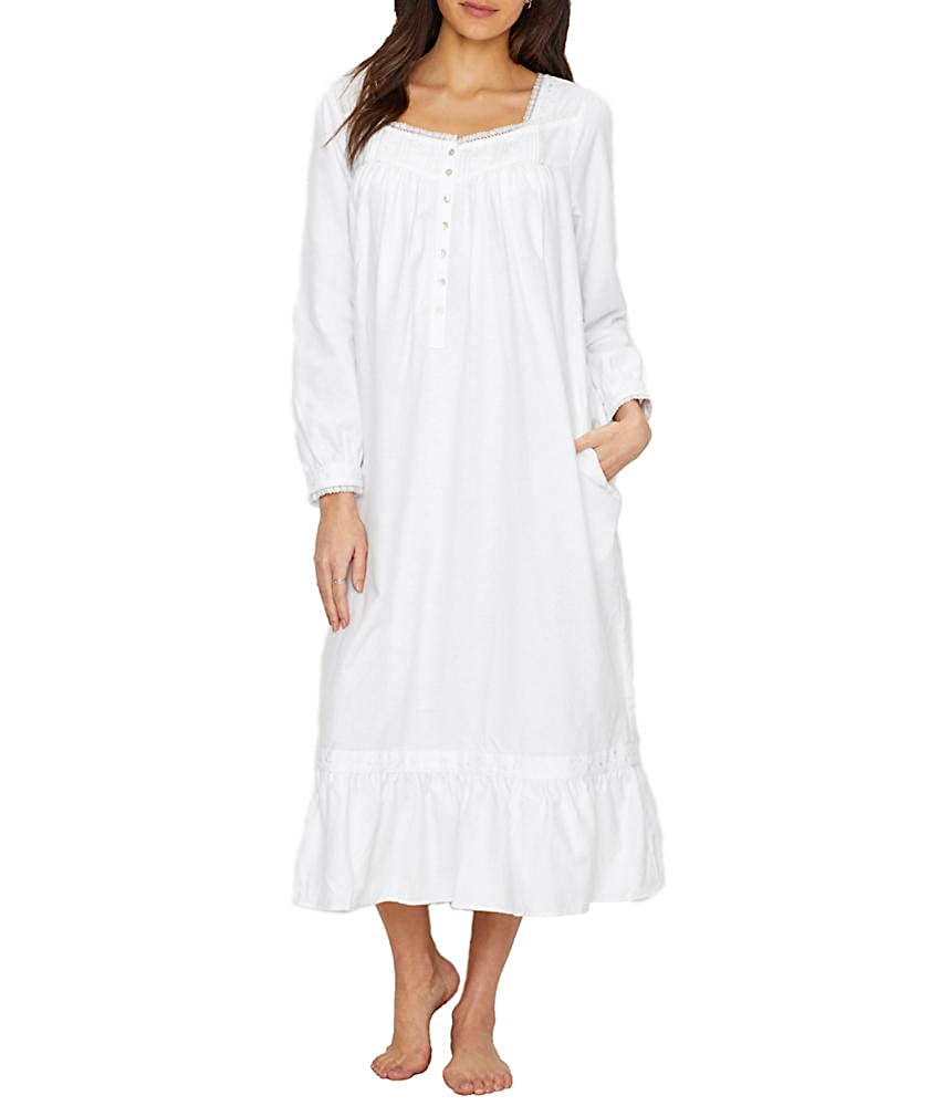Eileen West Flannel Embroidered Long Sleeve Ballet Nightgown (5519930)  L White Embroidery at Amazon Women s Clothing store  be7ee6786