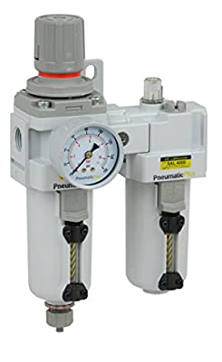 "PneumaticPlus SAU4010M-N04G-MEP Compressed Air Filter Regulator Lubricator Piggyback Combo 1/2"" NPT, 10 Micron, Metal Bowl, Manual Drain, Pressure Gauge"